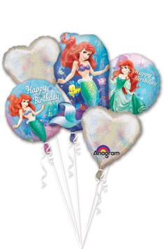 Little Mermaid Balloons - Ariel Balloon Bouquet - 5 Balloons