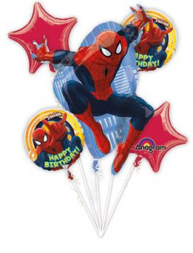 Spider Man Balloon Bouquet  5pc