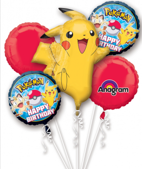 Pokemon Birthday Balloon Bouquet  5pc
