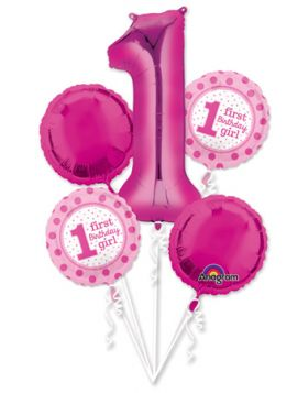 1st Birthday Polka Dot Girl Balloon Bouquet - 5 Balloons