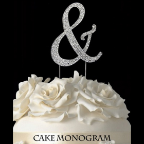 Silver Monogram Cake Topper - &