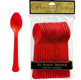 Apple Red  Premium Quality Plastic Spoons 20ct