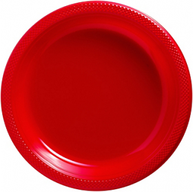 Apple Red Plastic Dinner Plates 20ct