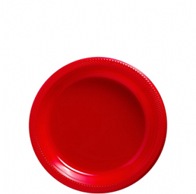 Apple Red Plastic Dessert  Plates 20ct