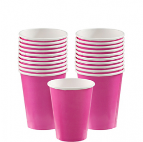 Bright Pink Paper Cups 20ct
