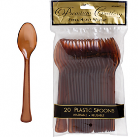 Chocolate Brown  Premium Quality Plastic Spoons 20ct