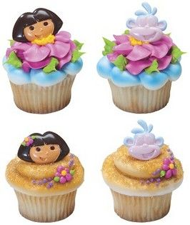 Dora The Explorer Cupcake Rings  6pcs