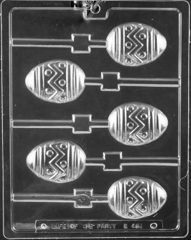 Easter Egg Zigzag Lollipop Chocolate Mold