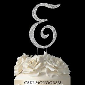 Silver Monogram Cake Topper - E
