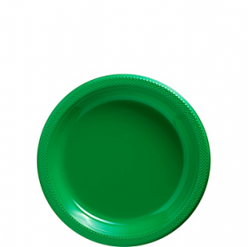 Festive Green Plastic Dessert  Plates 20ct
