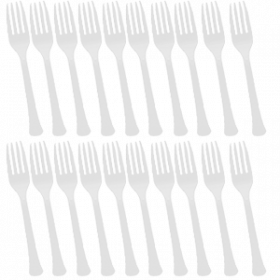 Frosty White Premium Quality Plastic Forks 20ct