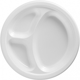 Frosty White  Plastic Divided Dinner Plates 20ct