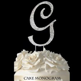 Silver Monogram Cake Topper - G