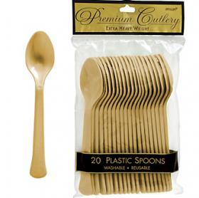 Gold Sparkle  Premium Quality Plastic Spoons 20ct