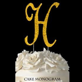 Gold Monogram Cake Topper - H