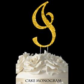 Gold Monogram Cake Topper - I