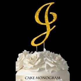 Gold Monogram Cake Topper - J