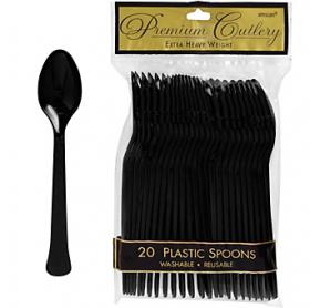 Jet Black  Premium Quality Plastic Spoons 20ct