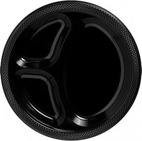 Jet Black  Plastic Divided Dinner Plates 20ct