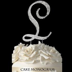 Silver Monogram Cake Topper - L
