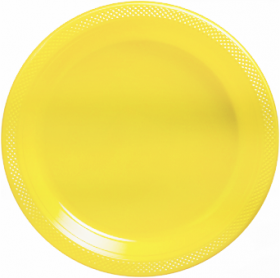 Light Yellow Plastic Dinner Plates 20ct
