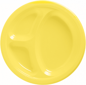 Light Yellow  Plastic Divided Dinner Plates 20ct