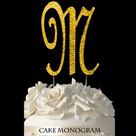 Gold Monogram Cake Topper - M