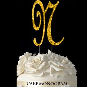 Gold Monogram Cake Topper - N