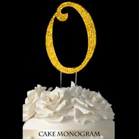 Gold Monogram Cake Topper - O