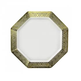"Lacetagon - 9.25"" Pearl Plate - Gold Rim - 10 Count"