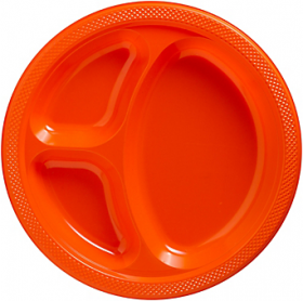 Orange Peel  Plastic Divided Dinner Plates 20ct