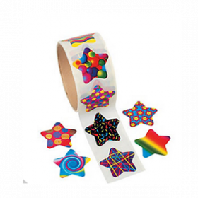 Funky Star Roll of Stickers (100pcs/roll)