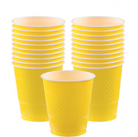 12oz Light Yellow Plastic Cups 20ct