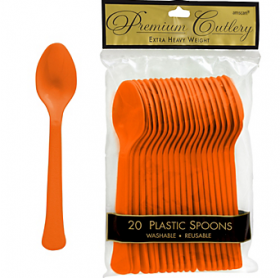 Orange Peel Premium Quality Plastic Spoons 20ct
