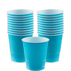 12oz Carribbean Blue Plastic Cups 20ct