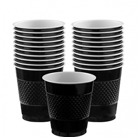 12oz Jet Black Plastic Cups 20ct