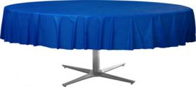 Bright Royal Blue Round Plastic Table Cover