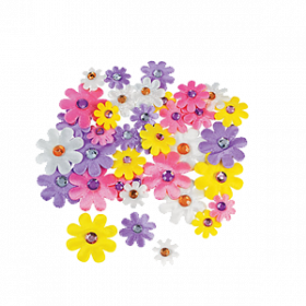 Self-Adhesive Daisies with Jewel Center (3dz)