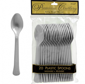 Silver Premium Quality Plastic Spoons 20ct