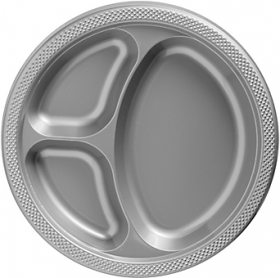 Silver Plastic Divided Dinner Plates 20ct