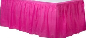 Bright Pink  Plastic Table Skirt