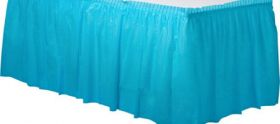 Carribbean Blue  Plastic Table Skirt