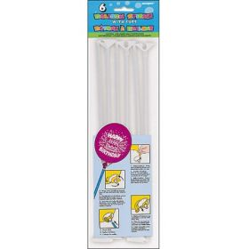Balloon Sticks with White Cups (Package of 6)
