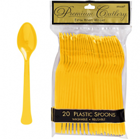 Yellow Sunshine Premium Quality Plastic Spoons 20ct