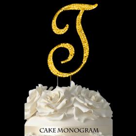 Gold Monogram Cake Topper - T