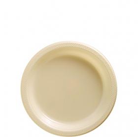Vanilla Crème Plastic Dessert  Plates 20ct