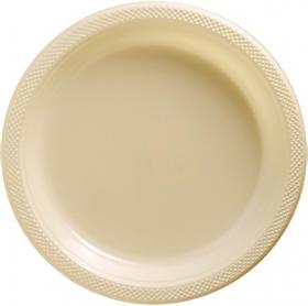 Vanilla Crème Plastic Dinner Plates 20ct