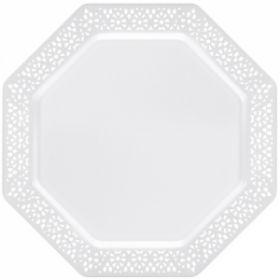 """Lacetagon - 11"""" Plastic White Plate -  Pearl White Rim - 10 Count"""