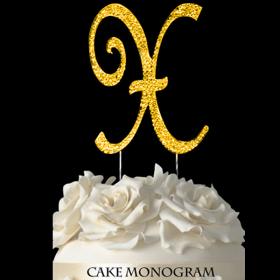 Gold Monogram Cake Topper - X